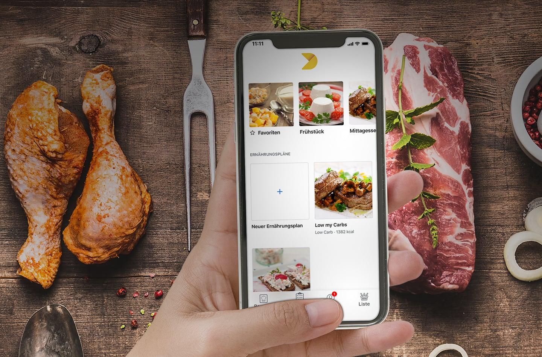 Low Carb Ernährungsplan zum Abnehmen in Diety auf iPhone, iPad und Laptop