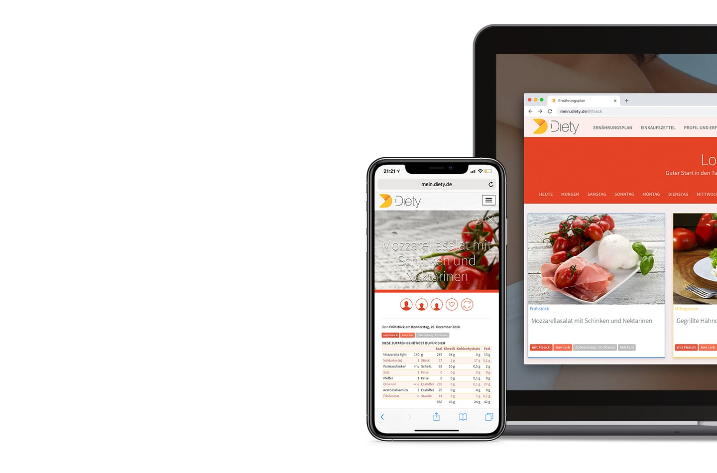 Low Carb diet plan for lose weight at Diety on iPhone, iPad and Laptop